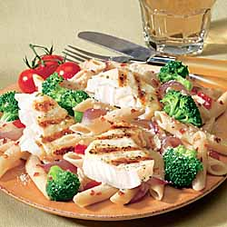 Grill Tilapia Fillets with Broccoli Penne