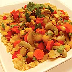 Mid-Eastern Mushroom and Chick Pea Couscous
