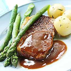 Grilled Striploin Steaks with Green Peppercorn Sauce
