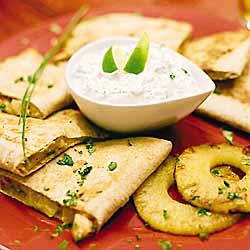 SeaPak Island Quesadillas with Lime Sour Cream