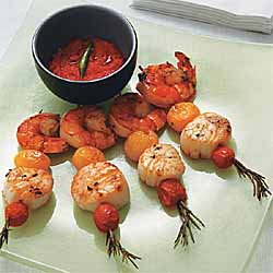 Shrimp and Scallop Skewers with Red Pepper Coulis