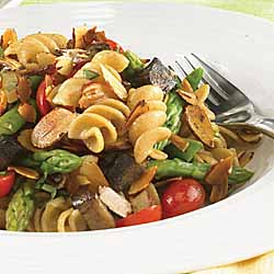 Asparagus, Grape Tomatoes, Portobello Mushrooms and Sliced Almonds with Whole Wheat Rotini