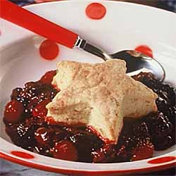 Raspberry-Blackberry Cobbler with Triple Ginger Biscuit Topping