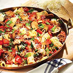Italian Sausage, Red Pepper and Mushroom Rigatoni from Anne Lindsay