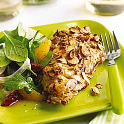 Almond Orange Crusted Chicken with Fennel Arugala Salad
