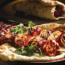 Grilled Butter Chicken Skewers With Naan Bread