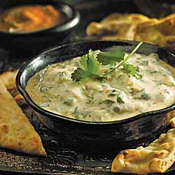 Mint and Mango Yogurt Dip with Toasted Naan Bread