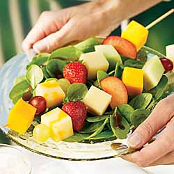 Salad with Triple Cheddar Fruit Kebobs