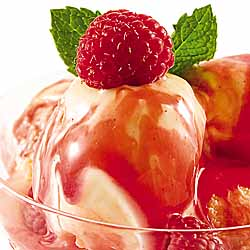 Ice Cream with Raspberry Sauce