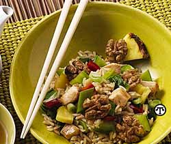 Fragrant Fried Rice with Walnuts and Chicken