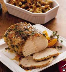 Apricot-Glazed Pork Roast and Stuffing