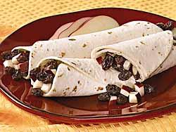 Raisin-Apple Tortilla Roll-Ups