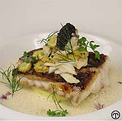Pan Roasted Tripletail topped with a Crab-Corn Saute and Caviar