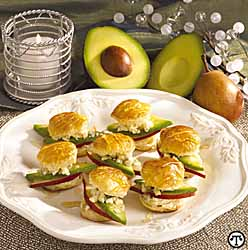 Avocado-Pear-Honey Pastry Rounds
