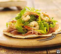 Texas Tostada with Prosciutto, Wild American Shrimp and Parsley