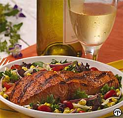 Salmon and Grill-Roasted Sweet Corn Salad