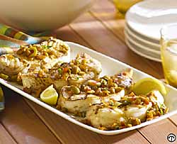 Tapas-Style Grilled Fish Steaks with Green Olivada