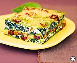 Spinach Lasagna with Sun-Dried Tomato Sauce