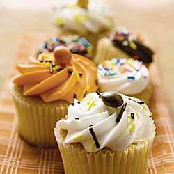 Yam Cupcakes with Orange Buttercream Icing