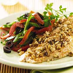 Nut-Crusted Catfish With Crisp Vegetable Slaw