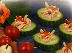Cucumber Cups With Roasted Tomato And Pine Nut Filling