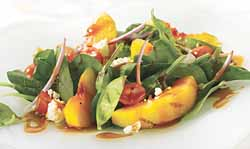Maple Grilled Peach And Spinach Salad