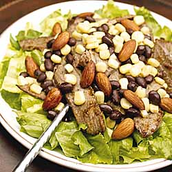 Steak Fajita Salad With Seasoned Almonds