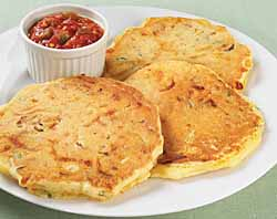 Cheese, Corn And Bacon Pancakes