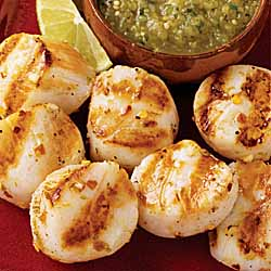 Marinated Scallop Brochettes with Roasted Tomatillo Salsa