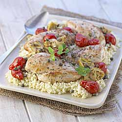 Chicken Roasted with Artichokes, Tomatoes and Capers