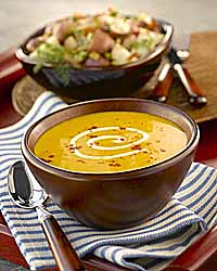 Autumn Vegetable Soup with Warm Potato Salad and Crispy Bacon