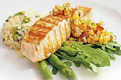 Pan Fried Salmon Steak with Fiery Green Curry Aioli