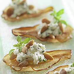 Ontario Pear Crisps with Chevre and Pine Nuts