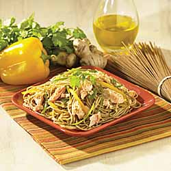 Healthy Harvest Spaghetti with Roasted Salmon in Sesame Oil