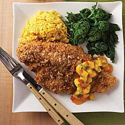Pecan-crusted Catfish with Spicy Mango Chutney