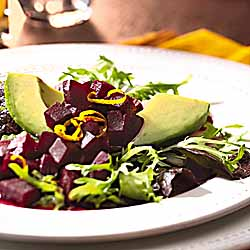 Roasted Beet And Hass Avocado Salad With Orange Dressing